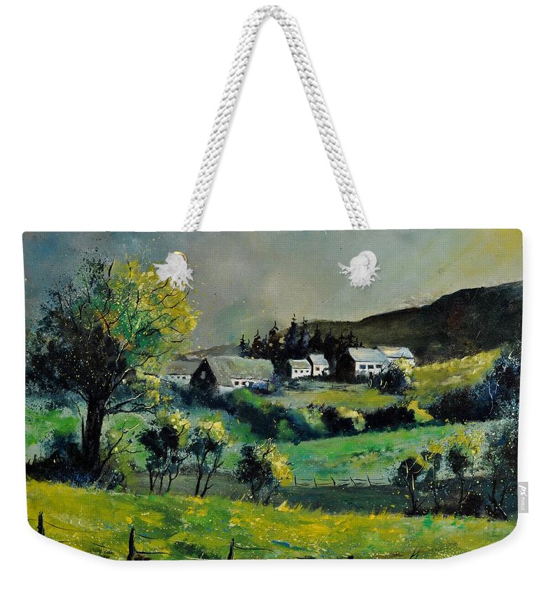 Landscape Weekender Tote Bag featuring the painting Spring In Voneche by Pol Ledent
