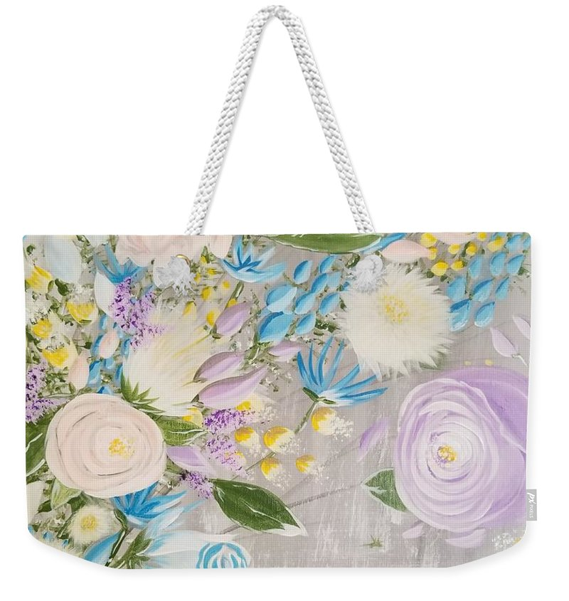 Easter Weekender Tote Bag featuring the painting Spring Into Easter by Roxane Gabriel