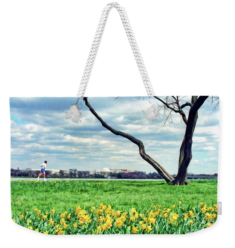 Jefferson Weekender Tote Bag featuring the photograph Spring Jog On The Potomac by Allen Beatty