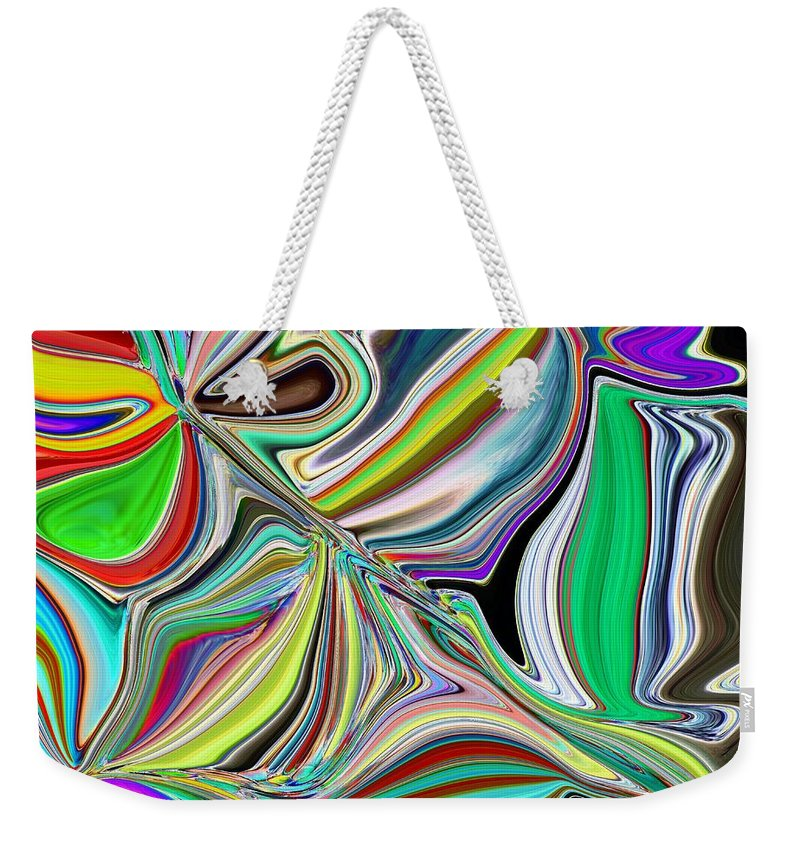 Abstract Weekender Tote Bag featuring the digital art Spring Kaleidoscope by Tim Allen