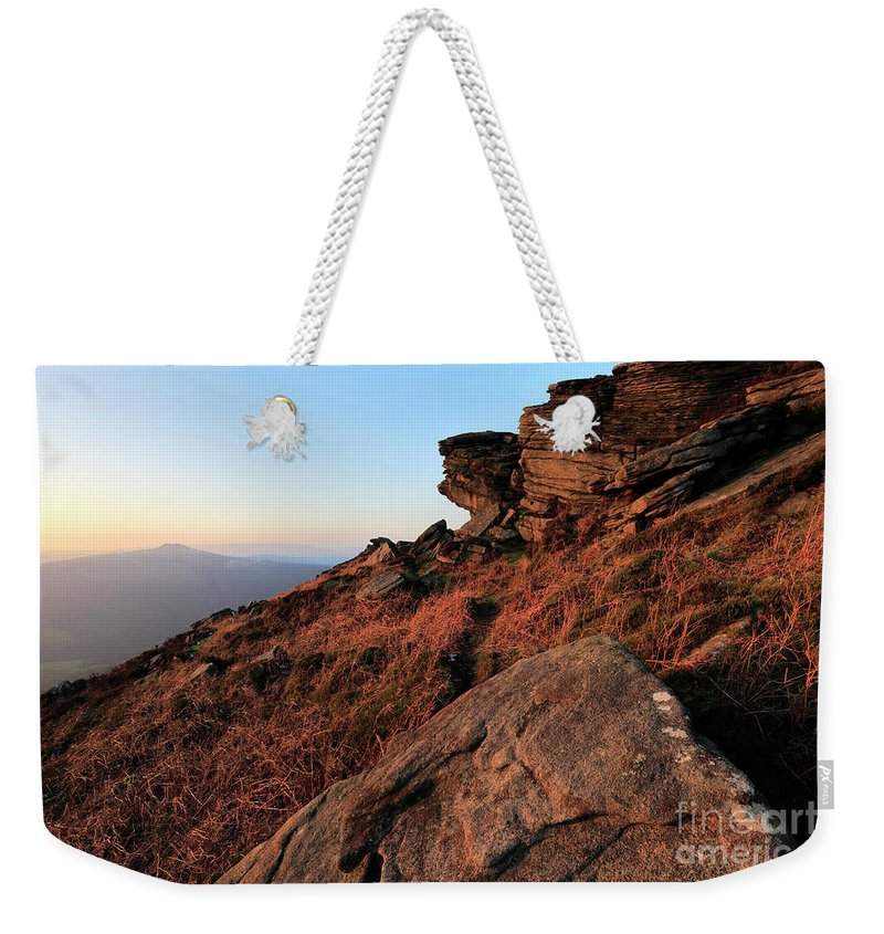 Stanage Edge Weekender Tote Bag featuring the photograph Spring Landscape, Gritstone Rock Formations, Stanage Edge by Dave Porter