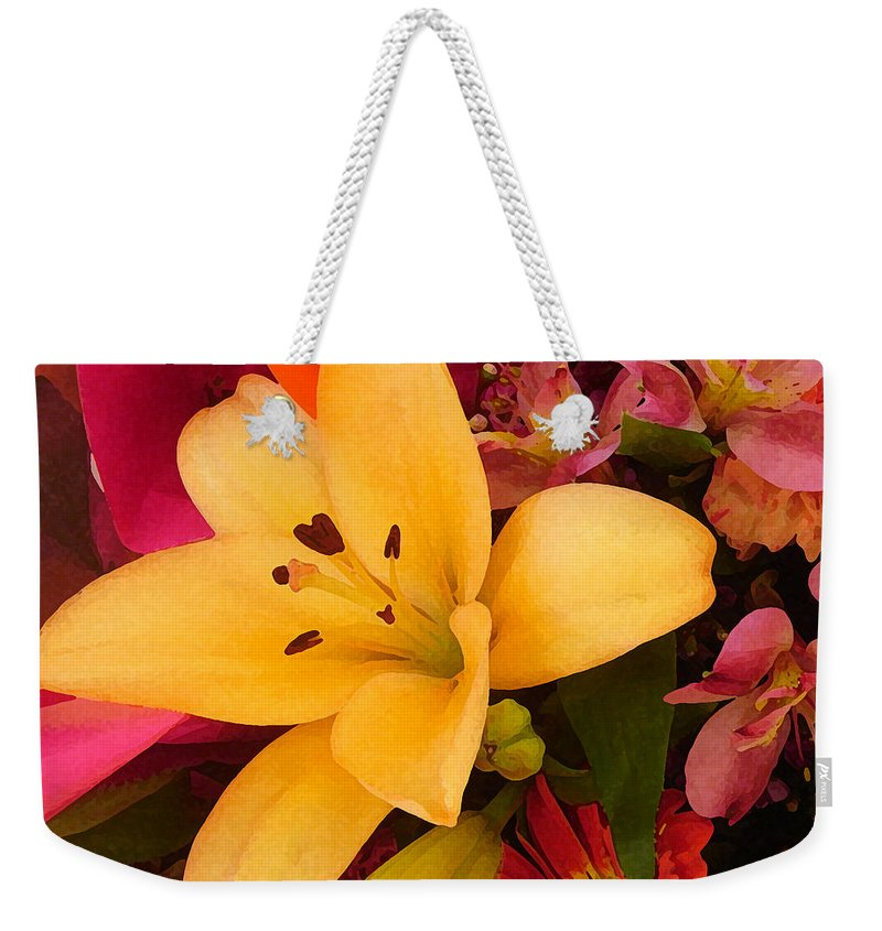 Lily Weekender Tote Bag featuring the painting Spring Lily Bouquet by Amy Vangsgard