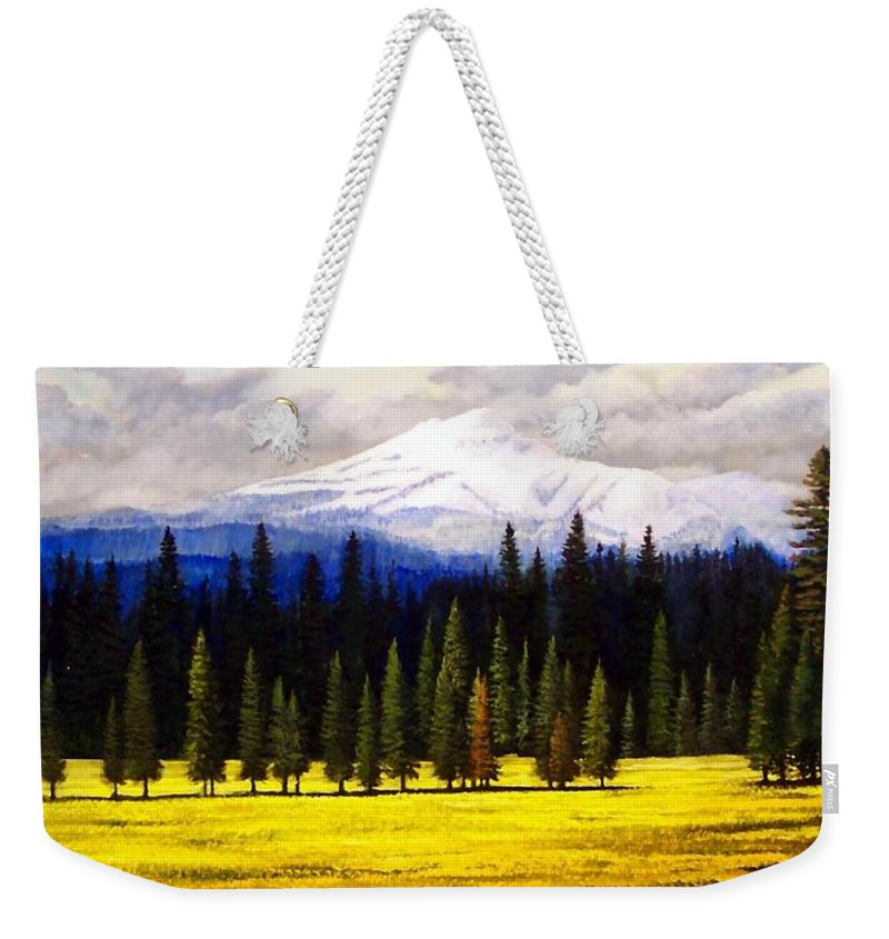 Landscape Weekender Tote Bag featuring the painting Spring Meadow Mount Brokeoff by Frank Wilson