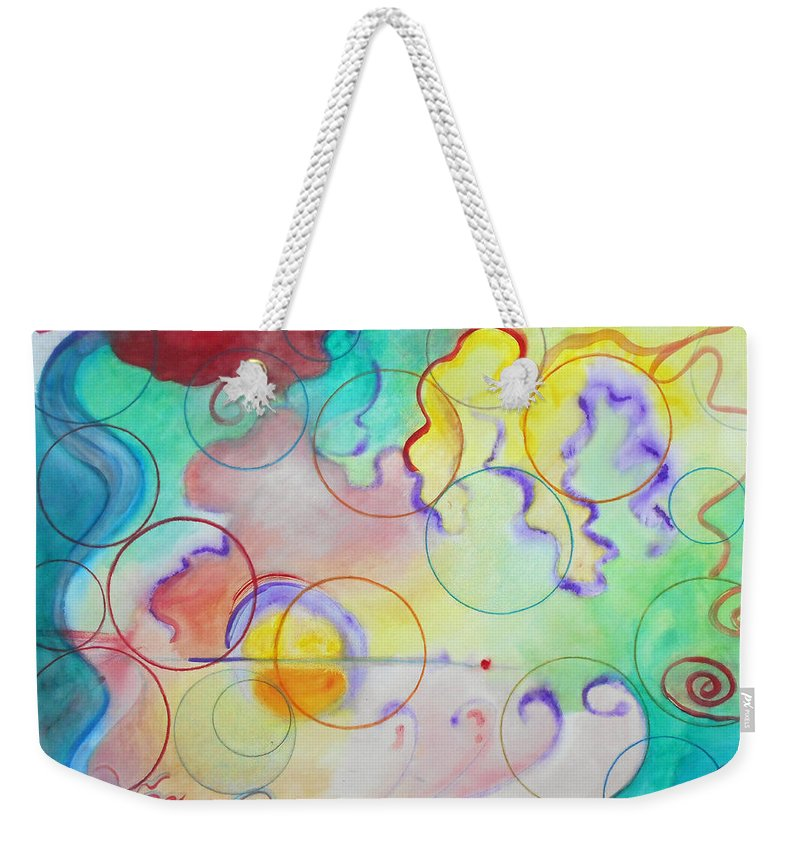 Watercolor Abstract Expressionist Expressionism Painting Paintings Bright Color Multicolored Circles Weekender Tote Bag featuring the painting Spring Of Hope by Laura Joan Levine
