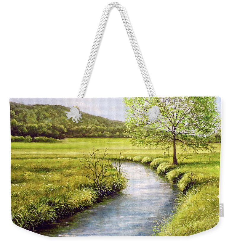 Spring Weekender Tote Bag featuring the painting Spring On The Canal by Sean Afford