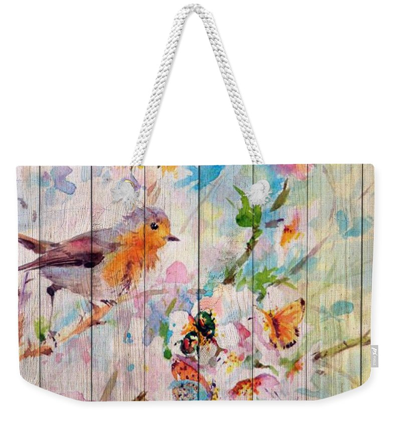 Painting Weekender Tote Bag featuring the mixed media Spring On Wood 06 by Aloke Creative Store