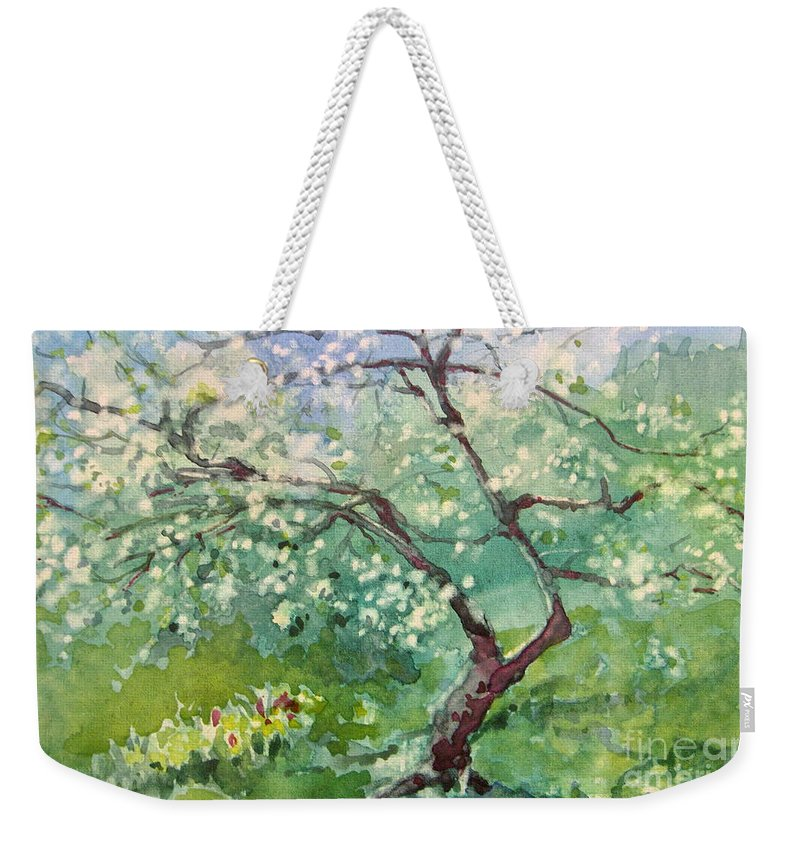 Plum Tree Weekender Tote Bag featuring the painting Spring Plum by Elizabeth Carr