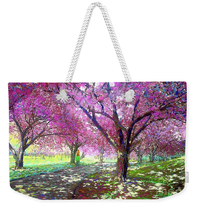 Sun Weekender Tote Bag featuring the painting Cherry Blossom by Jane Small