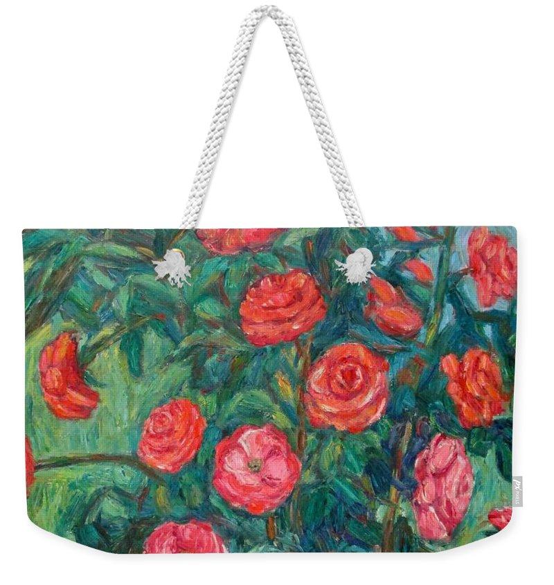 Rose Weekender Tote Bag featuring the painting Spring Roses by Kendall Kessler