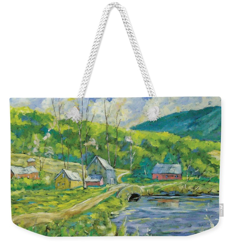 Landscape Weekender Tote Bag featuring the painting Spring Scene by Richard T Pranke