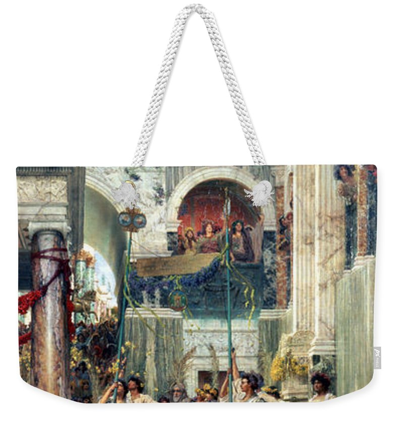 Spring Weekender Tote Bag featuring the painting Spring by Sir Lawrence Alma-Tadema