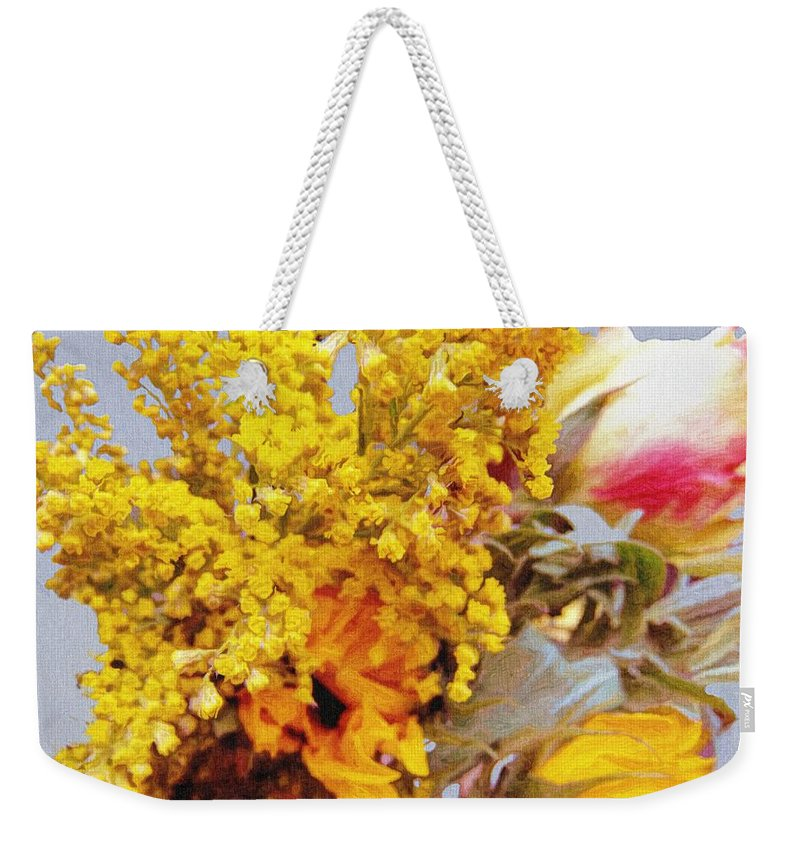 Blue Weekender Tote Bag featuring the painting Spring Sky Bouquet by RC DeWinter