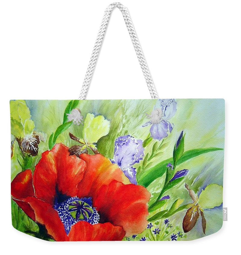 Poppy Iris Floral Painting Weekender Tote Bag featuring the painting Spring Splendor by Joanne Smoley