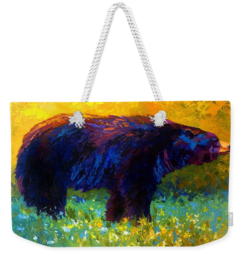 Bear Weekender Tote Bag featuring the painting Spring Stroll - Black Bear by Marion Rose