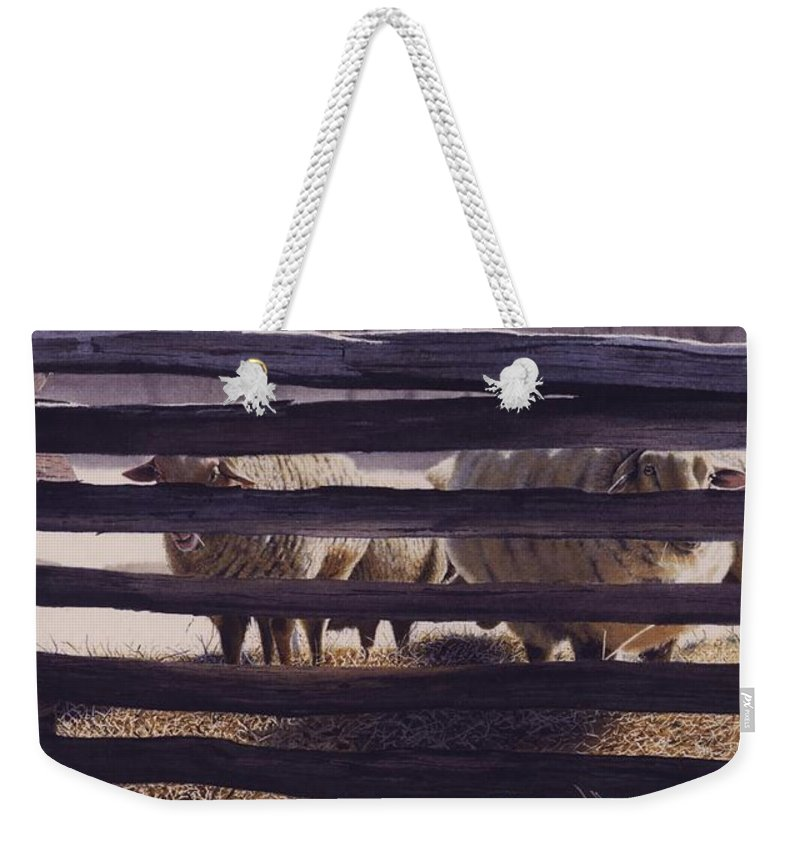 Sheep Weekender Tote Bag featuring the painting Spring Thaw by Denny Bond