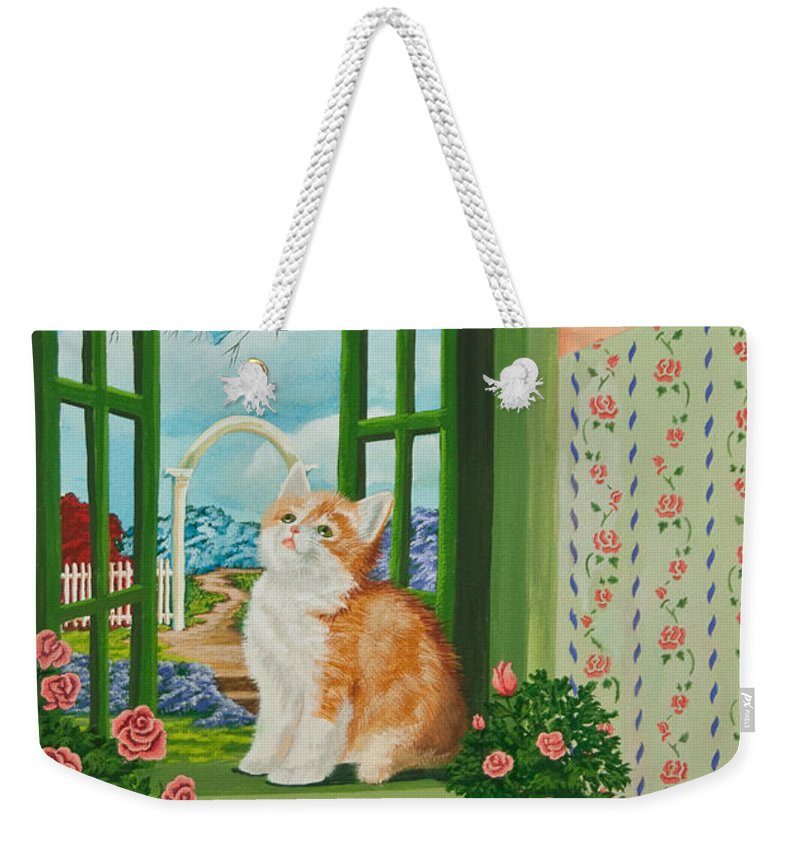 Kittens Weekender Tote Bag featuring the painting Spring Through My Window by Charlotte Blanchard