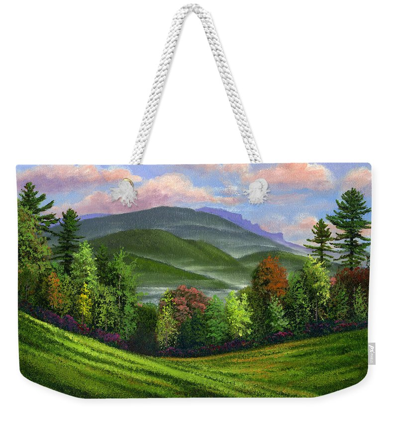 Landscape Weekender Tote Bag featuring the painting Spring Time by Frank Wilson
