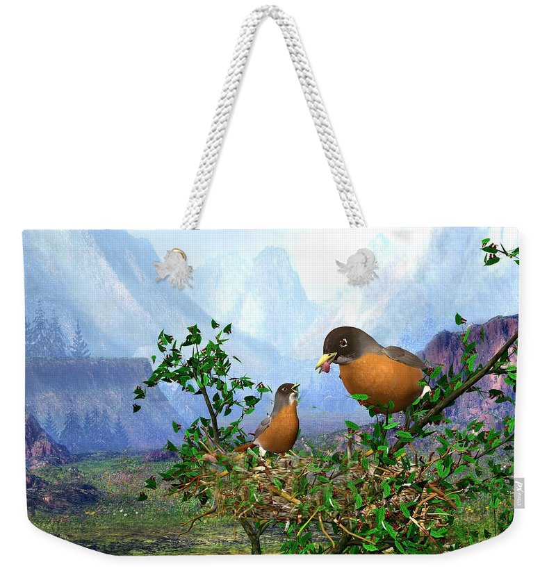 Spring Time Robins Bird Weekender Tote Bag featuring the digital art Spring Time Robins by John Junek