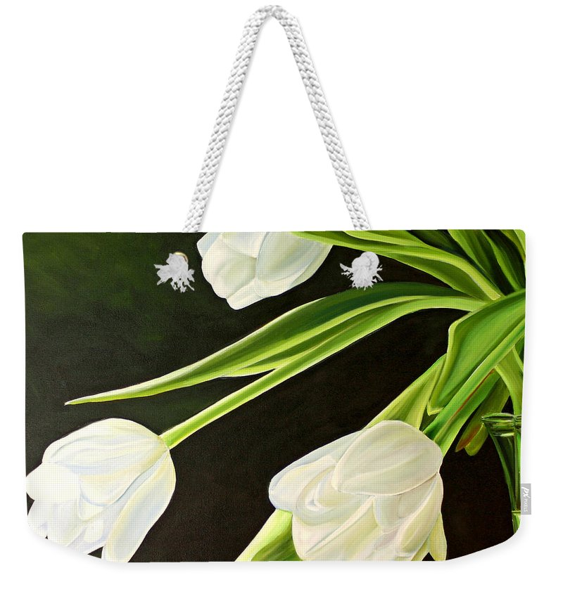Tulips Weekender Tote Bag featuring the painting Spring Tulips by Toni Grote