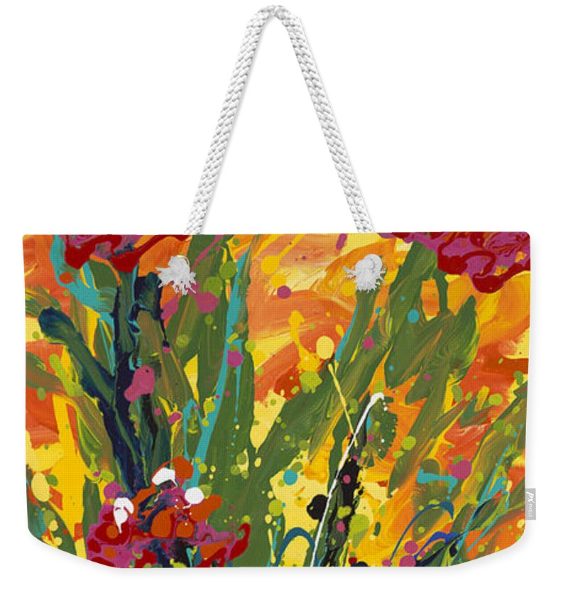 Spring Weekender Tote Bag featuring the painting Spring Tulips Triptych Panel 1 by Nadine Rippelmeyer