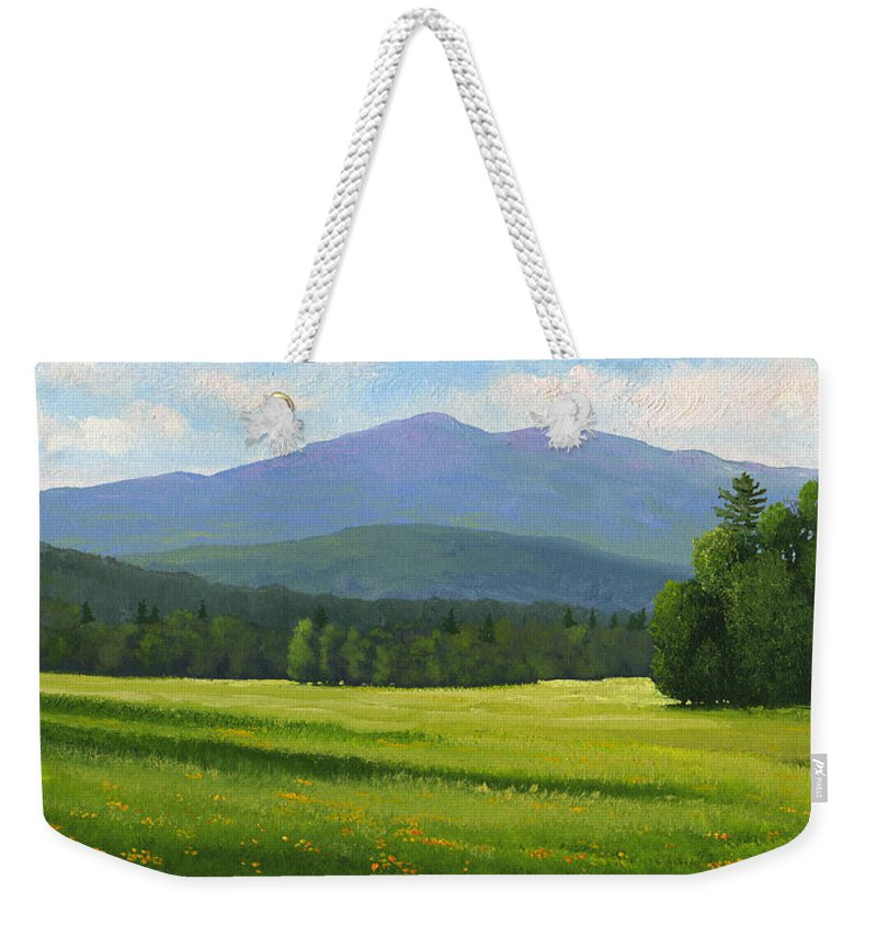 Landscape Weekender Tote Bag featuring the painting Spring Vista by Frank Wilson