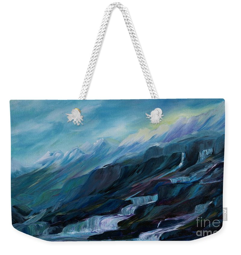 Spring Water Trickling Down Mountains Weekender Tote Bag featuring the painting Spring Water by Joanne Smoley
