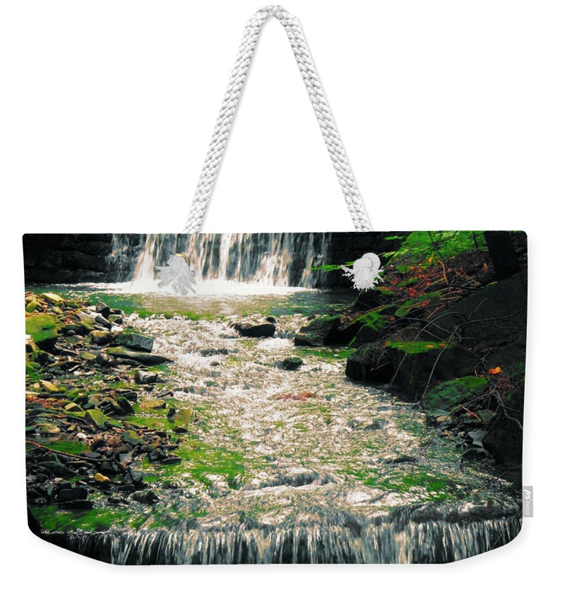 Mountain Waterfall Weekender Tote Bag featuring the photograph Spring Waterfall by Mariola Bitner