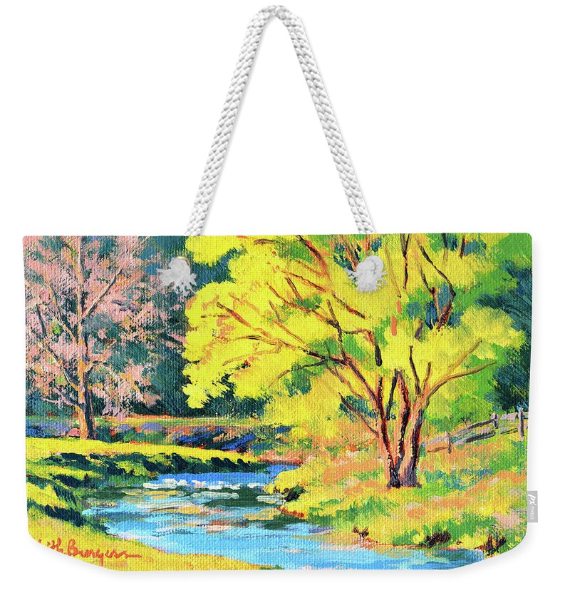 Impressionism Weekender Tote Bag featuring the painting Spring Willow by Keith Burgess