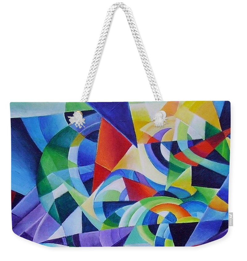 Spring Antonio Vivaldi Acrylic Abstract Music Four Seasons Weekender Tote Bag featuring the painting Spring by Wolfgang Schweizer