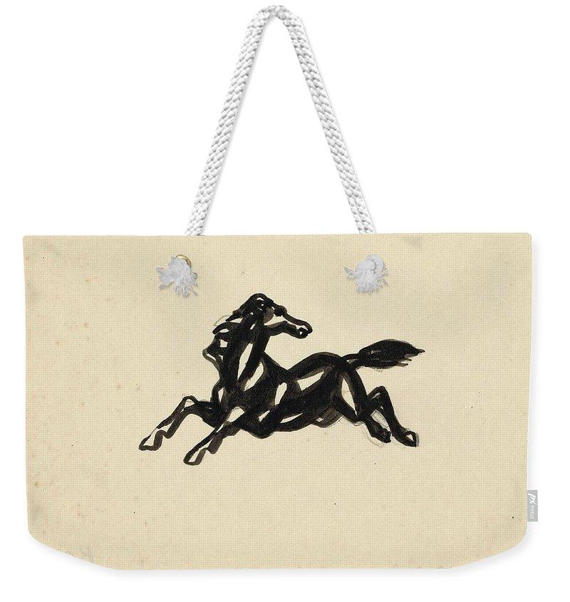 Springend Paard Met Het Hoofd Naar Achteren Gedraaid Weekender Tote Bag featuring the painting Springend Paard Met Het Hoofd Naar Achteren Gedraaid by Leo Gestel