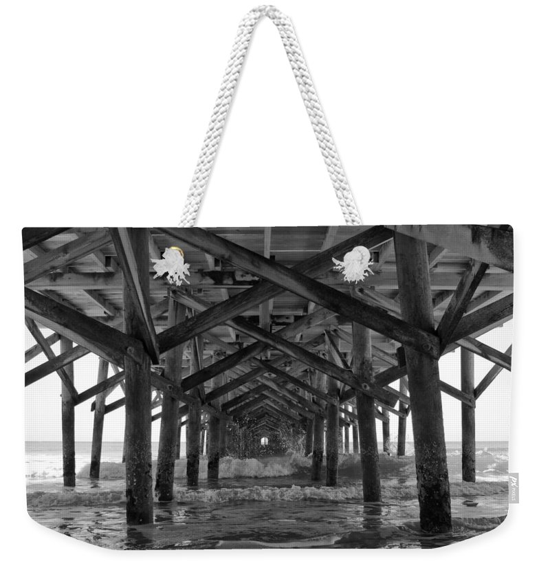 Springmaid Pier Weekender Tote Bag featuring the photograph Springmaid Pier In Myrtle Beach South Carolina by Stephanie McDowell