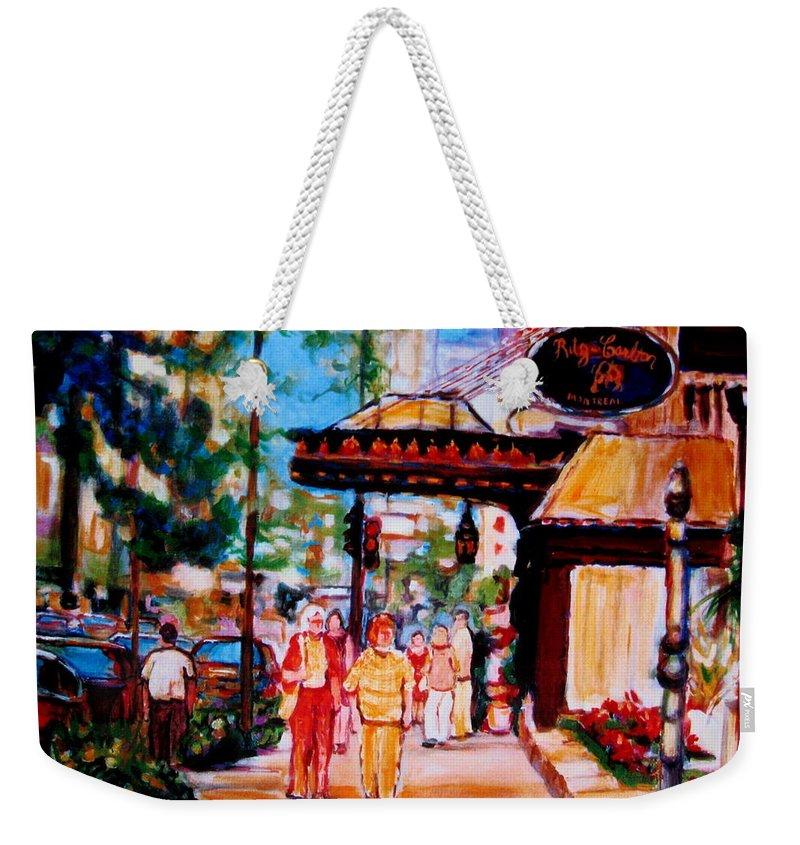 Montreal Streetscenes Weekender Tote Bag featuring the painting Springtime At The Ritz by Carole Spandau