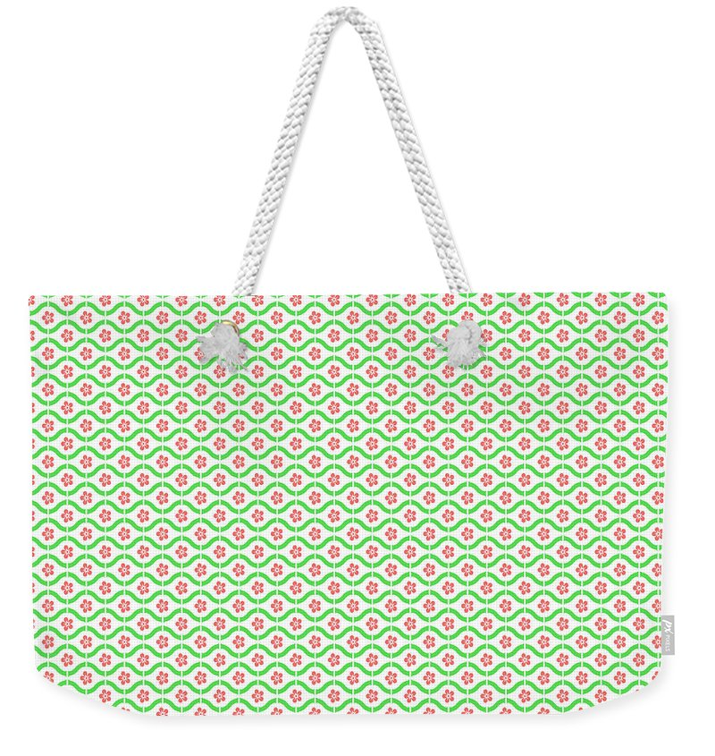 Green Weekender Tote Bag featuring the digital art Springtime Botanicals-c by Jean Plout