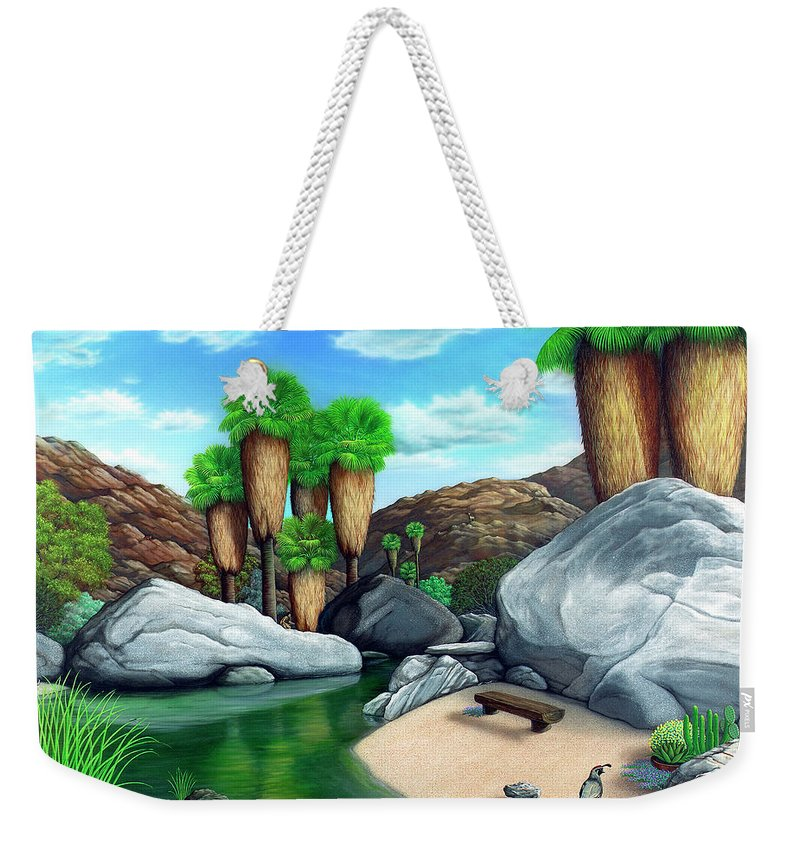 Landscape Weekender Tote Bag featuring the painting Springtime In The Canyons by Snake Jagger