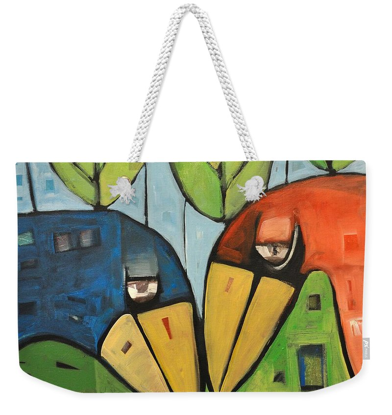 Birds Weekender Tote Bag featuring the painting Springtime Lovebirds by Tim Nyberg