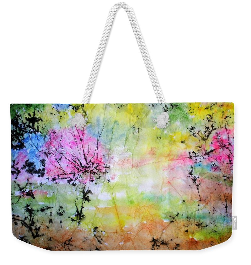 Landscape Weekender Tote Bag featuring the painting Springtime by Marilyn Brown