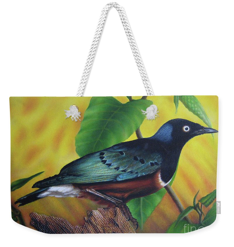 Bird Weekender Tote Bag featuring the painting Springtime by Shikha Biswas Joyee