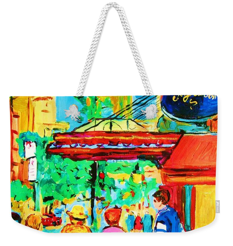Paintings Of The Ritz Carlton On Sherbrooke Street Montreal Art Weekender Tote Bag featuring the painting Springtime Stroll by Carole Spandau