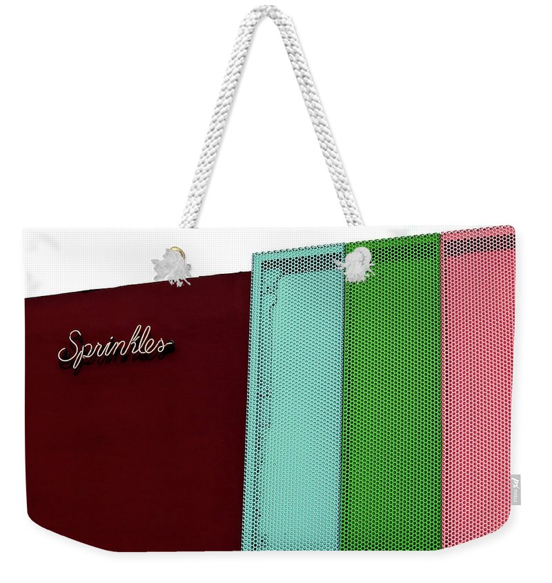 Beverly Hills Weekender Tote Bag featuring the photograph Sprinkles Beverly Hills by Art Block Collections