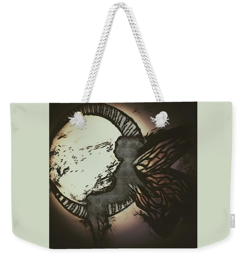 Weekender Tote Bag featuring the drawing Sprite. by Brittni Bailie