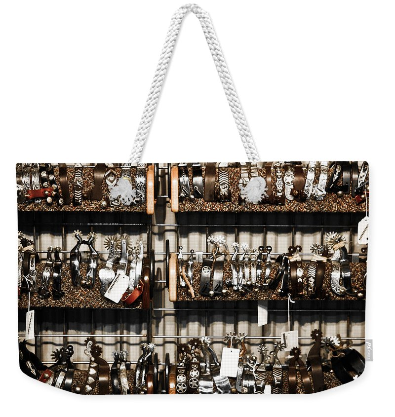 Spur Weekender Tote Bag featuring the photograph Spurs by Marilyn Hunt