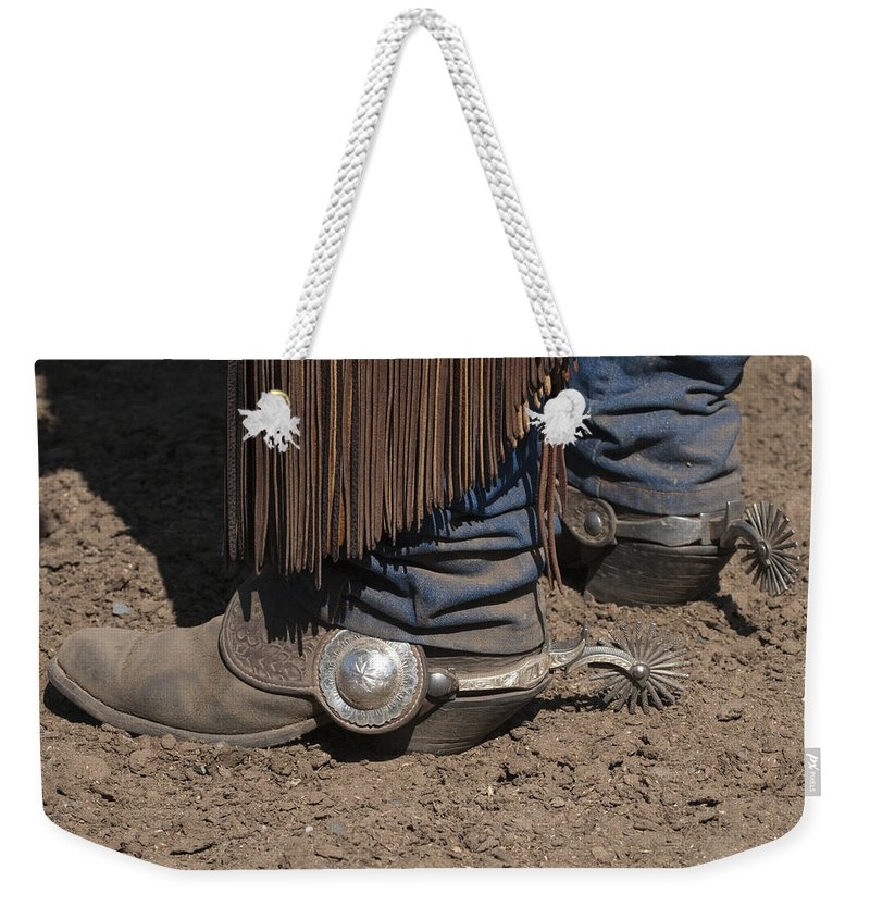 Western Weekender Tote Bag featuring the photograph Spurs N' Rowels by Sandra Bronstein