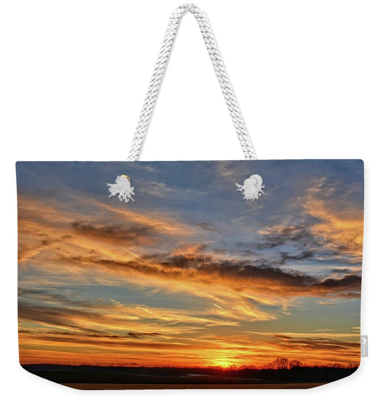Sunset Weekender Tote Bag featuring the photograph Spwinter Sunset by Bonfire Photography