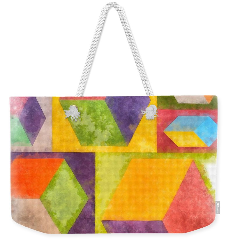 Painting Weekender Tote Bag featuring the painting Square Cubes Abstract by Edward Fielding