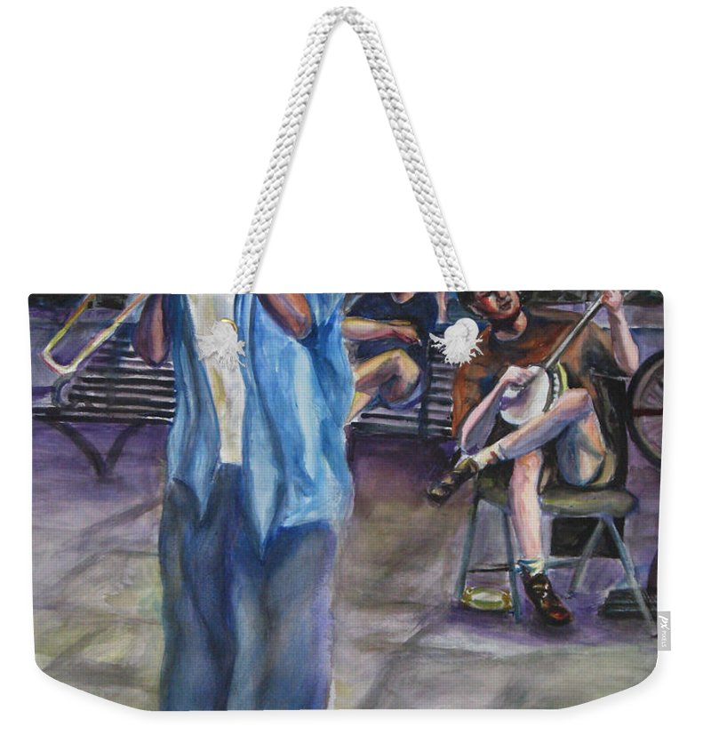New Orleans Weekender Tote Bag featuring the painting Square Slide by Beverly Boulet
