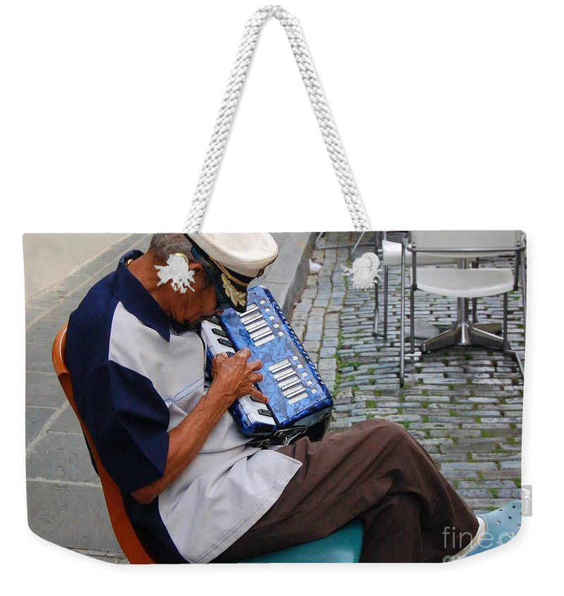 People Weekender Tote Bag featuring the photograph Squeeze Box by Debbi Granruth