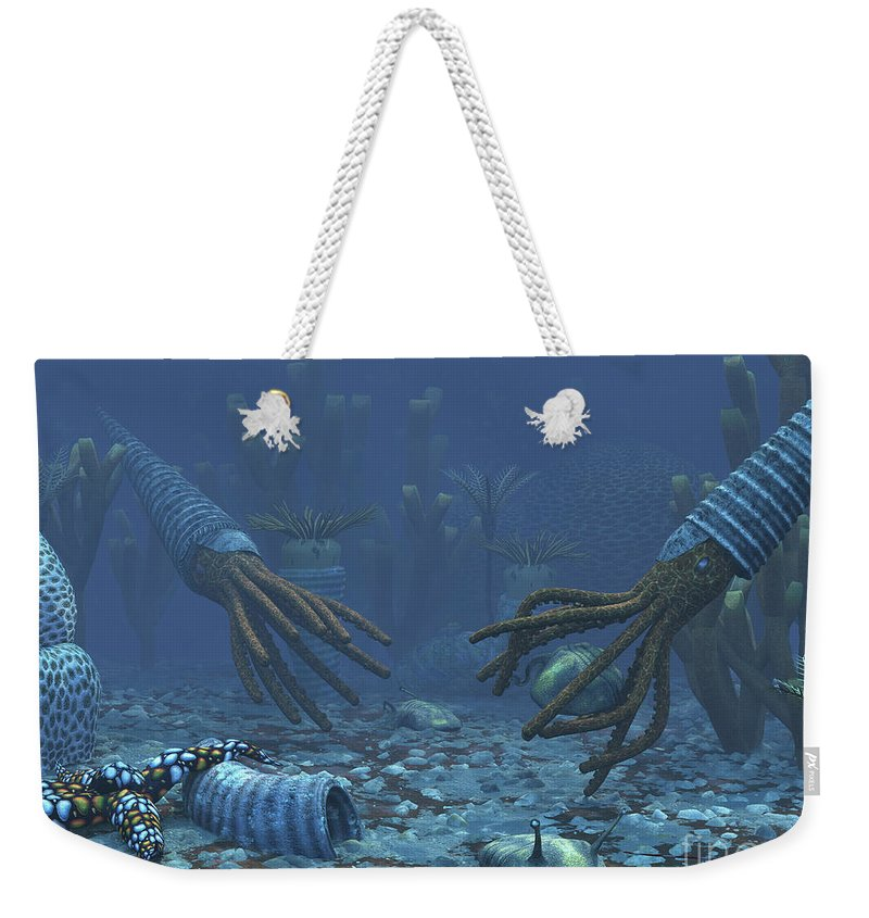Earth Weekender Tote Bag featuring the digital art Squid-like Orthoceratites Attempt by Walter Myers