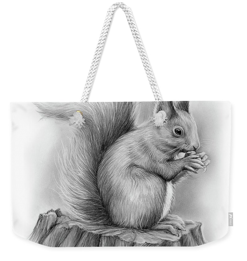 Squirrel Weekender Tote Bag featuring the drawing Squirrel by Greg Joens