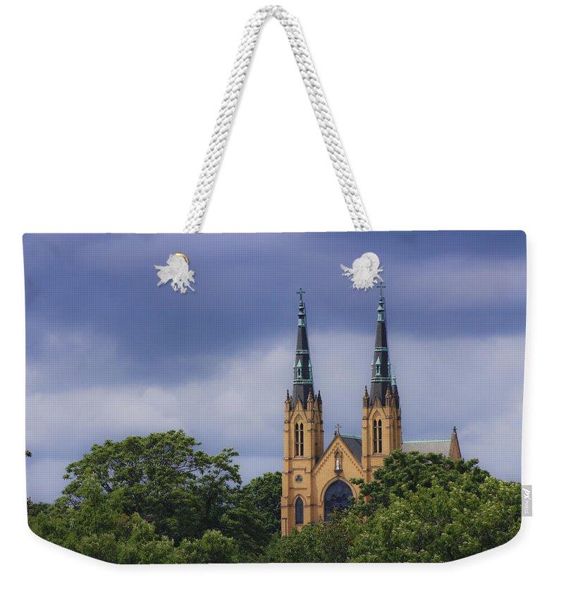 Saint Weekender Tote Bag featuring the photograph St Andrews Catholic Church Roanoke Virginia by Teresa Mucha