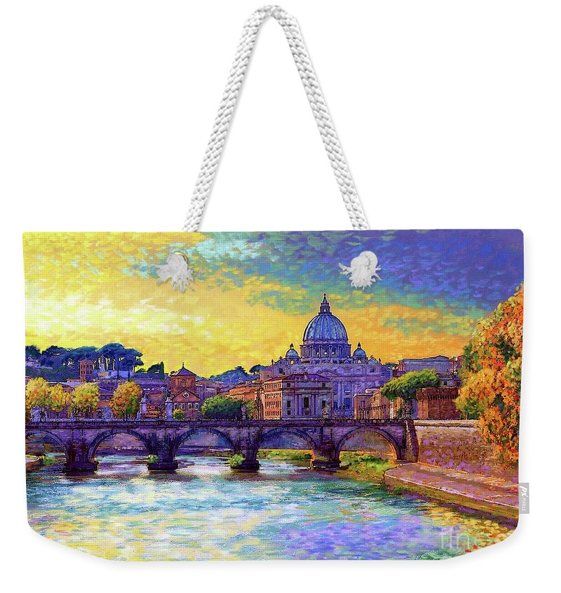 Italy Weekender Tote Bag featuring the painting St Angelo Bridge Ponte St Angelo Rome by Jane Small
